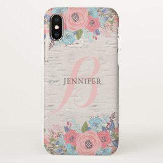 Funda Para iPhone X Flores y abedul rosados - monograma bonito