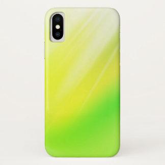 Funda Para iPhone X Fondo del extracto del verde amarillo