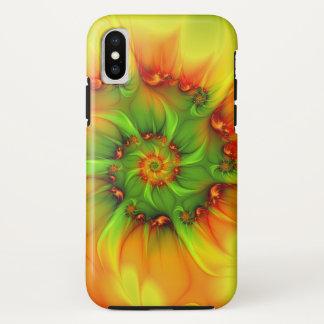 Funda Para iPhone X Fractal colorido abstracto anaranjado del verde