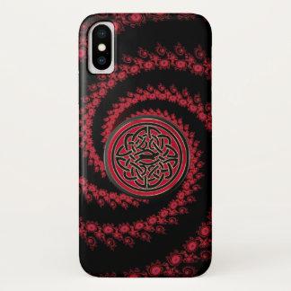 Funda Para iPhone X Fractal rojo y negro con el nudo céltico