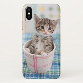 Funda Para iPhone X Gatito de Munchkin con la cinta bonita