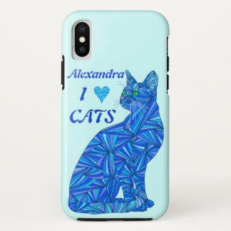 Funda Para iPhone X Gatos azules del corazón del ifonx I del gato que