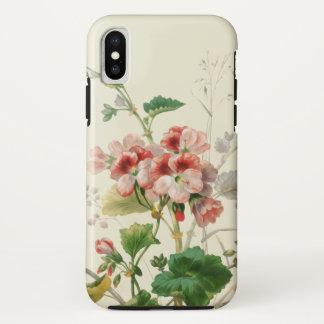 Funda Para iPhone X Geranios rosados del vintage