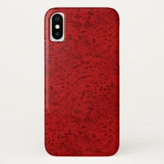 Funda Para iPhone X Grano de madera de la mirada del corcho del rojo