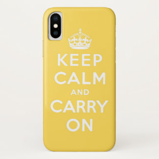Funda Para iPhone X guarde la calma y continúe el amarillo