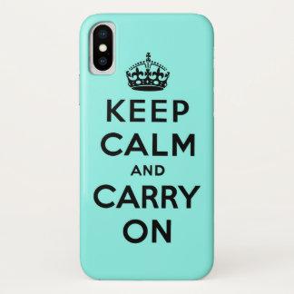Funda Para iPhone X guarde la calma y continúe la original
