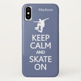 Funda Para iPhone X Guarde la calma y patine en nombre de encargo y
