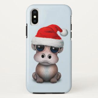 Funda Para iPhone X Hipopótamo del bebé que lleva un gorra de Santa