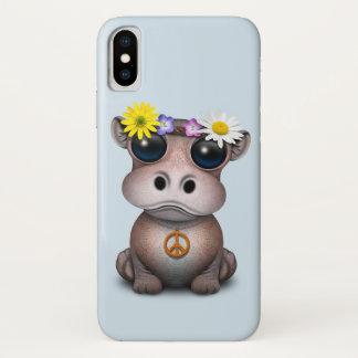 Funda Para iPhone X Hippie lindo del hipopótamo del bebé
