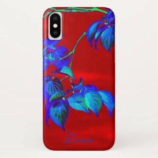 Funda Para iPhone X Hojas rojas del azul de cielo