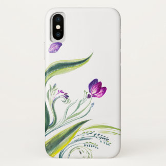 Funda Para iPhone X Hojas y flores tropicales para su teléfono