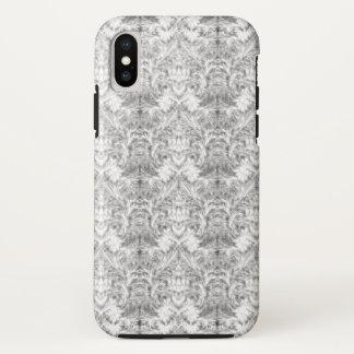 Funda Para iPhone X Ilusión blanca del damasco de la falta de