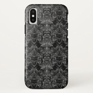 Funda Para iPhone X Ilusión negra del damasco de la falta de