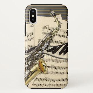 Funda Para iPhone X Ilustracion del saxofón y de la música del piano