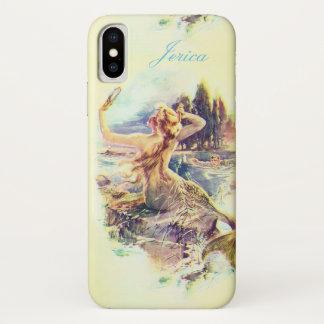 Funda Para iPhone X Ilustracion personalizado de la sirena del vintage