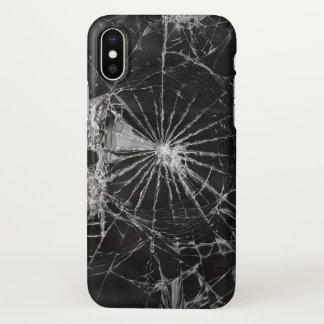 Funda Para iPhone X impresión de cristal rota negra