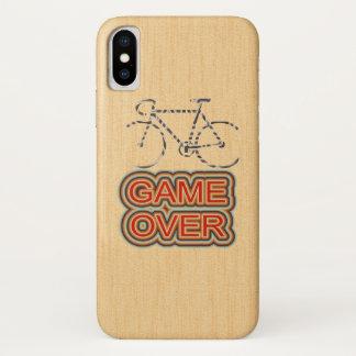 Funda Para iPhone X Juego de ciclo encima. Fondo de madera