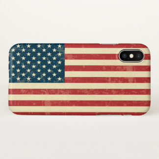 Funda Para iPhone X La bandera americana se descoloró