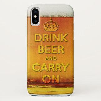 Funda Para iPhone X La cerveza divertida de la bebida y continúa