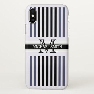 Funda Para iPhone X La independencia negra moderna del monograma raya