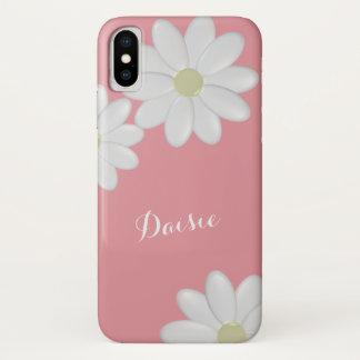 Funda Para iPhone X La margarita blanca rosada de la fresa florece la