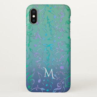 Funda Para iPhone X La música púrpura azulverde verde azulada observa