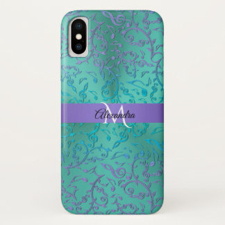 Funda Para iPhone X La música púrpura del verde azul observa el caso