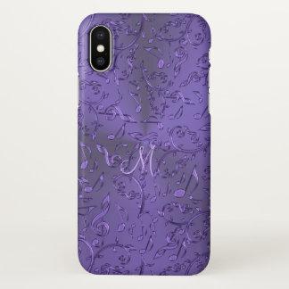 Funda Para iPhone X La música púrpura metálica observa el caso del