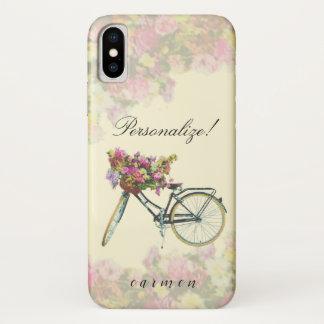 Funda Para iPhone X La primavera del vintage florece la bici