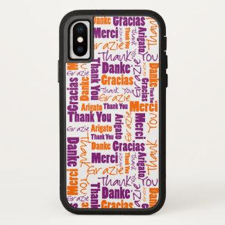 Funda Para iPhone X La púrpura y el naranja le agradecen redactar la