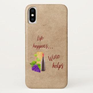 Funda Para iPhone X La vida sucede cita divertida del vino de las