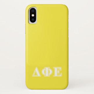 Funda Para iPhone X Letras blancas de la phi del delta y amarillas