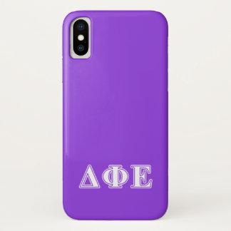 Funda Para iPhone X Letras blancas de la phi del delta y púrpuras