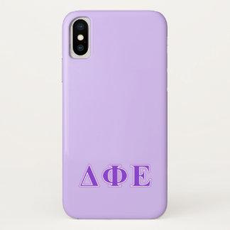 Funda Para iPhone X Letras épsilones de la púrpura y de la lavanda de