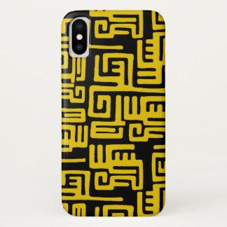 Funda Para iPhone X Línea amarilla del modelo tribal africano mínimo