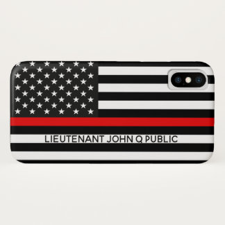 Funda Para iPhone X Línea roja fina bandera americana