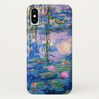 Funda Para iPhone X Lirios de agua de Monet con reflexiones de la