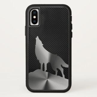 Funda Para iPhone X Lobo metálico del grito con la fibra de carbono
