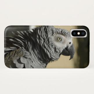 Funda Para iPhone X Loro del gris africano de Congo con las plumas