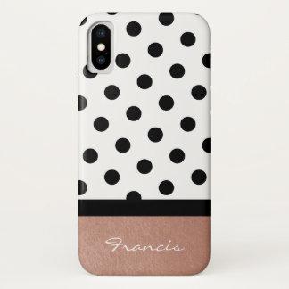 Funda Para iPhone X Lunar blanco y negro del oro color de rosa