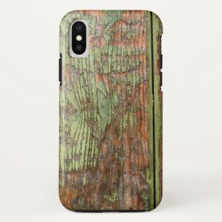 Funda Para iPhone X Madera verde gastada y resistida del granero