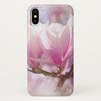 Funda Para iPhone X Magnolia púrpura rosada floreciente - flor de la