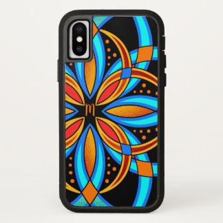 Funda Para iPhone X mandala anaranjada azul del arte digital con