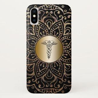 Funda Para iPhone X Mandala médica del efecto metalizado de oro del