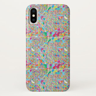 Funda Para iPhone X Mapa colorido de Denver