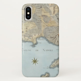 Funda Para iPhone X Mapa del golfo de Nápoles y de los alrededores