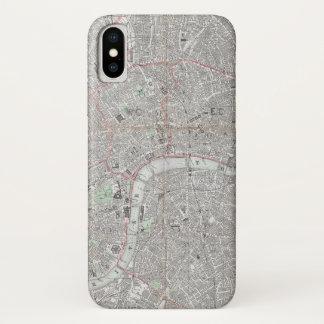 Funda Para iPhone X Mapa del vintage de la ciudad de Londres