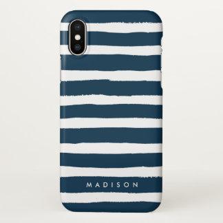 Funda Para iPhone X Marina de guerra personalizada y raya cepillada