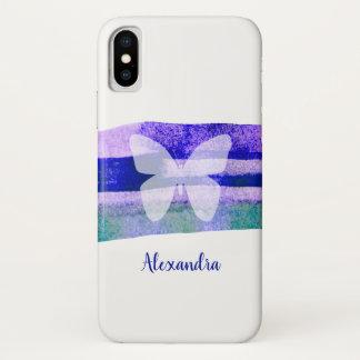 Funda Para iPhone X Mariposa de la acuarela del añil personalizada