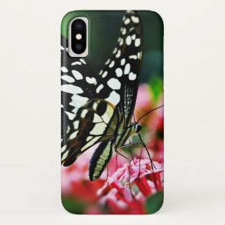 Funda Para iPhone X Mariposa hermosa en la flor roja